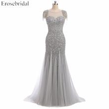 Robe de soirée érosemariée, style sirène, robe de bal élégante, robe longue, perles grises, col en U, col en U, Design livraison directe