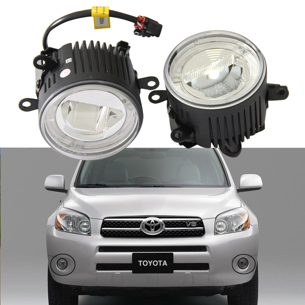 12V 24V LED Fog Light 9cm with DRL Halo Daytime Running Light Fog Lamp for Toyota AURIS YARIS RAV4 (06-08) KLUGER Car Styling кроссовки asicstiger asicstiger as009auztu73