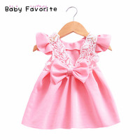 2018 New Spring Fashion Baby Girl Dresses Party And Wedding Lace Back Big Bow Lovely Solid