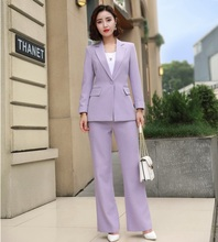 2019 Summer Elegant Formal font b Women s b font Ladies Purple Blazer Business Pant Suit