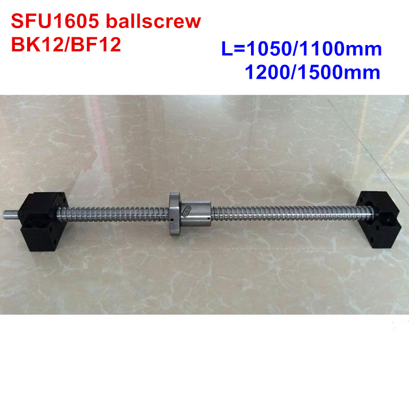 SFU1605 1050 1100 1200 1500mm ballscrew + BK12/BF12 CNC partsSFU1605 1050 1100 1200 1500mm ballscrew + BK12/BF12 CNC parts