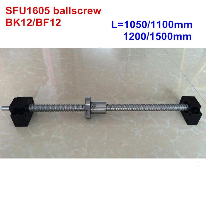 SFU1605 1050 1100 1200 1500mm ballscrew + BK12/BF12 peças CNC