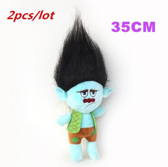 2pcs/lot 35cm high quality Dreamworks Movie Trolls Toy Plush Trolls Black Hair Branch Figures Magic Fairy Hair Wizard Kids Toys