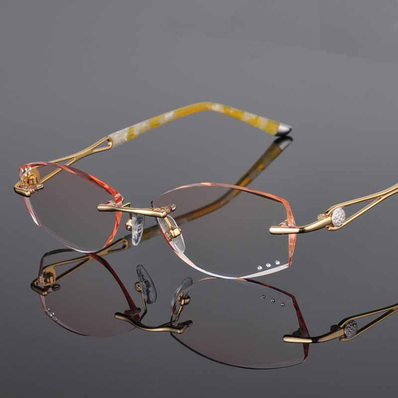 1.61 Index Single Vision Prescription Eyeglasses Diamond Trimming Rimless Luxury Glasses Frame With Gradient Tint Lenses