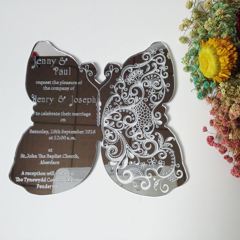Customized 180 150mm butterfly shape silver font b mirror b font font b acrylic b font