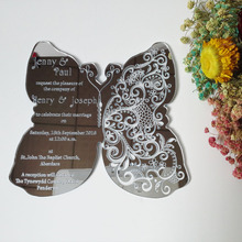 Customized 180*150mm butterfly shape silver mirror acrylic wedding invitation card(1lot=100pcs)