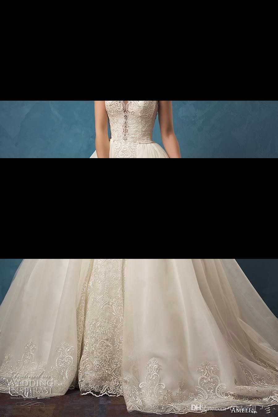 634fd4741284 Lace Wedding Dresses with Mermaid Two Pieces Detachable Skirt Sheer ...
