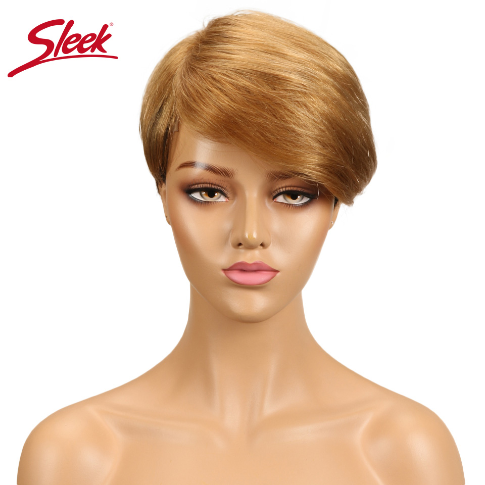Sleek Brazilian Short Human Hair Wig 100% Remy Human Hair Wig For Black Women Ombre Non Lace Pixie Cut Wig Free Shipping