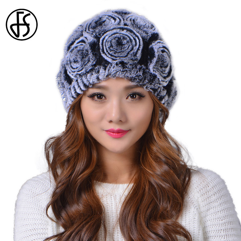FS Women Real Knitted Rex Rabbit Fur Hats Winter Warm   Beanie   Russian Hat Girls Skull Cap   Skullies     Beanies   Female Snow Caps