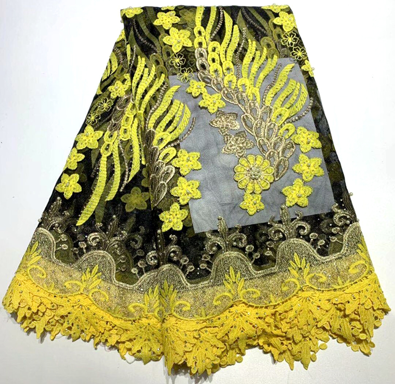 New design african lace fabric 2019 Black+yellow color french tulle stone lace fabric for wedding dress guipure cord lace fabricNew design african lace fabric 2019 Black+yellow color french tulle stone lace fabric for wedding dress guipure cord lace fabric