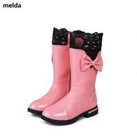 26 37 2017 New Girls High Mid Calf Boot Princess Winter Warm Snow Boots Kids Autumn
