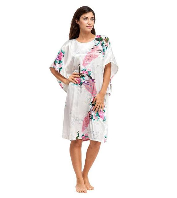 Sexy de talla grande blanco de la señora del traje vestido chino tradicional de la mujer ropa de dormir de seda del camisón Vintage Kimono vestido del baño animales