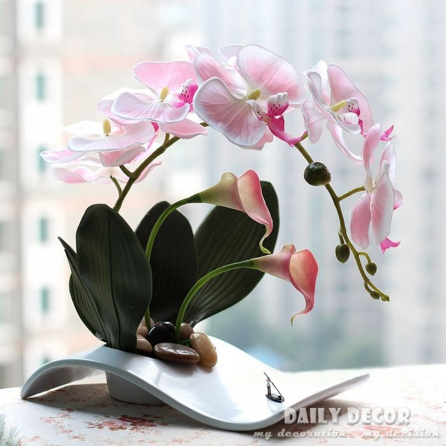 fancy handmade ikebana artificial orchid arrangements flores