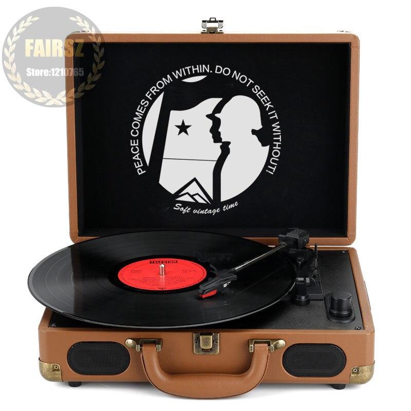 Klug Retro Stil Vinyl Lp Spieler Phonographen Pu Leder Europäischen Tragbare Grammophon Buletooth/radio/usb/wiederaufladbare Bequemes GefüHl Tragbares Audio & Video