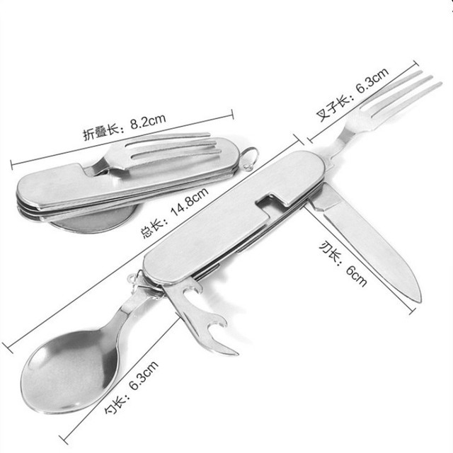 Detachable Outdoor Camping Cookware Titanium Fork Knife Spoon Bottle Opener Multi-function Picnic Tableware Cutlery Folding Kit