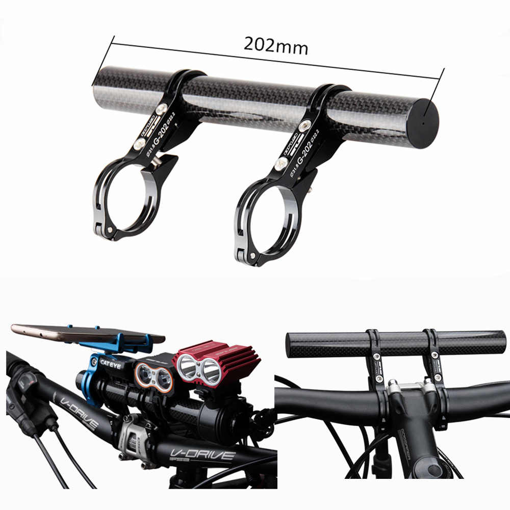 GUB G-202 prolongé 31.8 25.4 22.2mm vélo de route vélo Double guidon Extension de montage en Fiber de carbone Extender porte-lampe