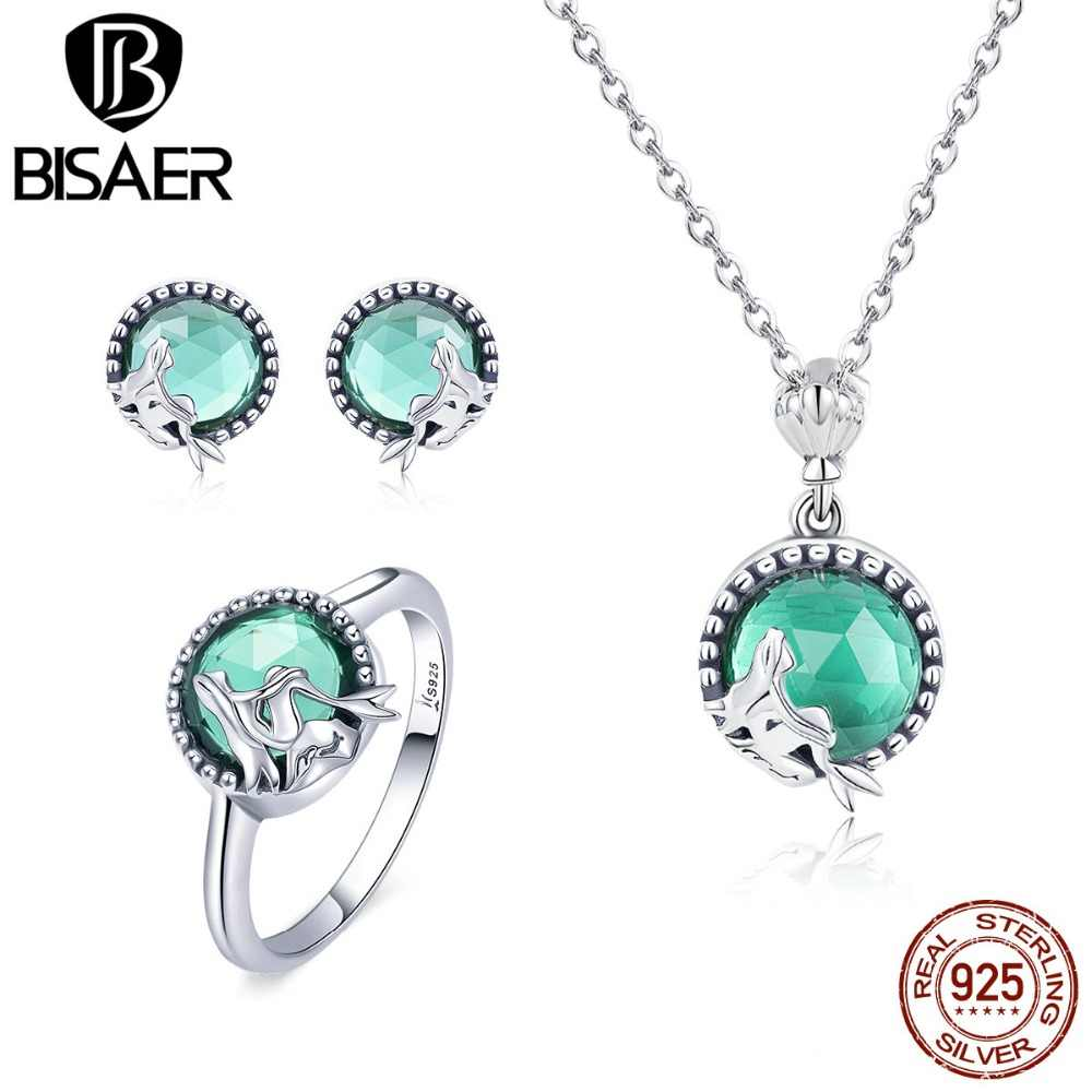 BISAER Silver Jewelry Sets Real 925 Sterling Silver Mermaid Fairy Ring Necklace Jewelry Set Sterling Silver Jewelry Making WE066