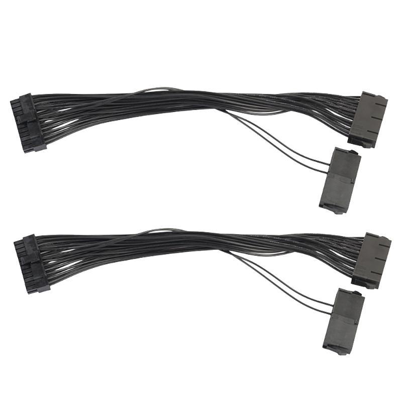 2 pcs/lot 30 cm 18AWG Puissance Synchrone Démarreur Fil PSU Dual Power Supply 24 broches ATX Carte Mère Adaptateur Câble pour BTC Mineur