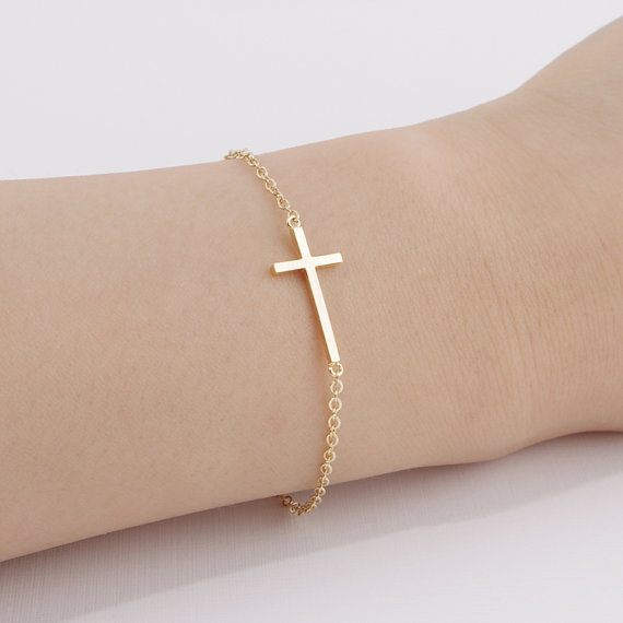 1pcs Fashion Horizontal Sideways Cross Bracelet Simple Tiny Small Cool Faith Bracelets In Charm From Jewelry