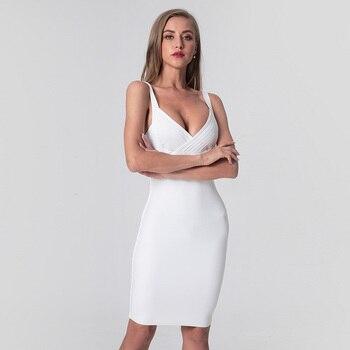 2020 Strapy sin mangas Deep V Neck Sexy vestido mujeres rodilla longitud blanco negro vendaje vestido sólido Partido Bodycon Vestidos