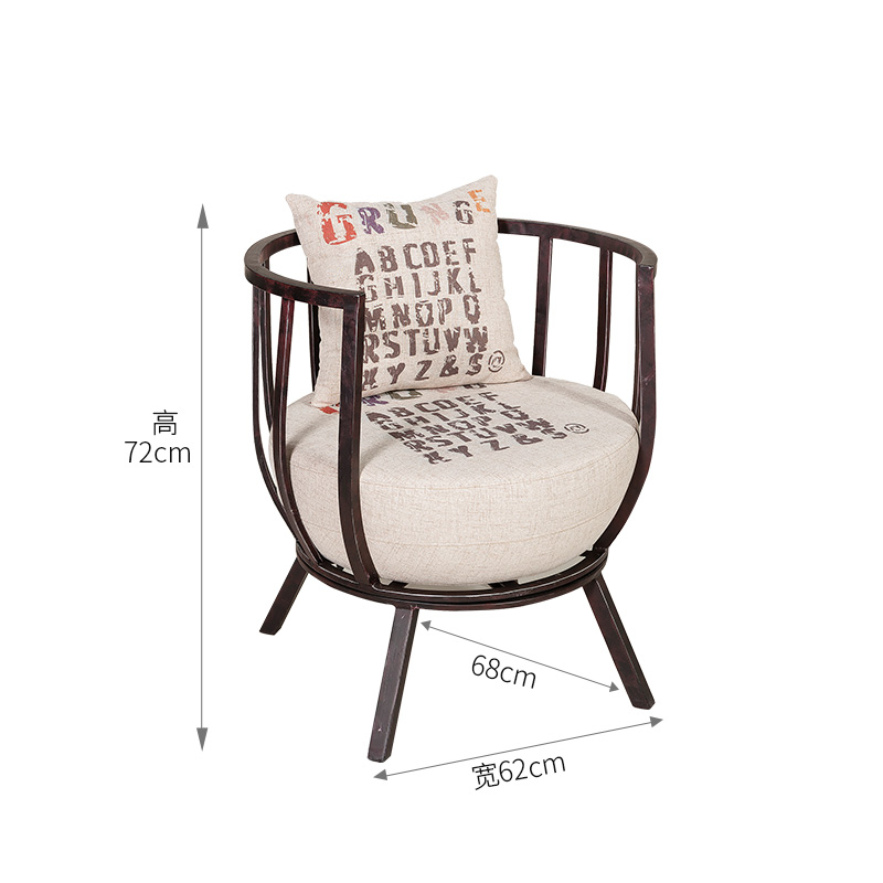 цена Modern Minimalist American Retro Sofa Chair Industrial Wind Bar Cafe Hall Iron Chair Single Back Chair Ornament Craft Furnishing