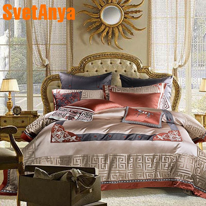 Svetanya Luxury Brocade Bedding Set King Queen Double Size Bed Linens