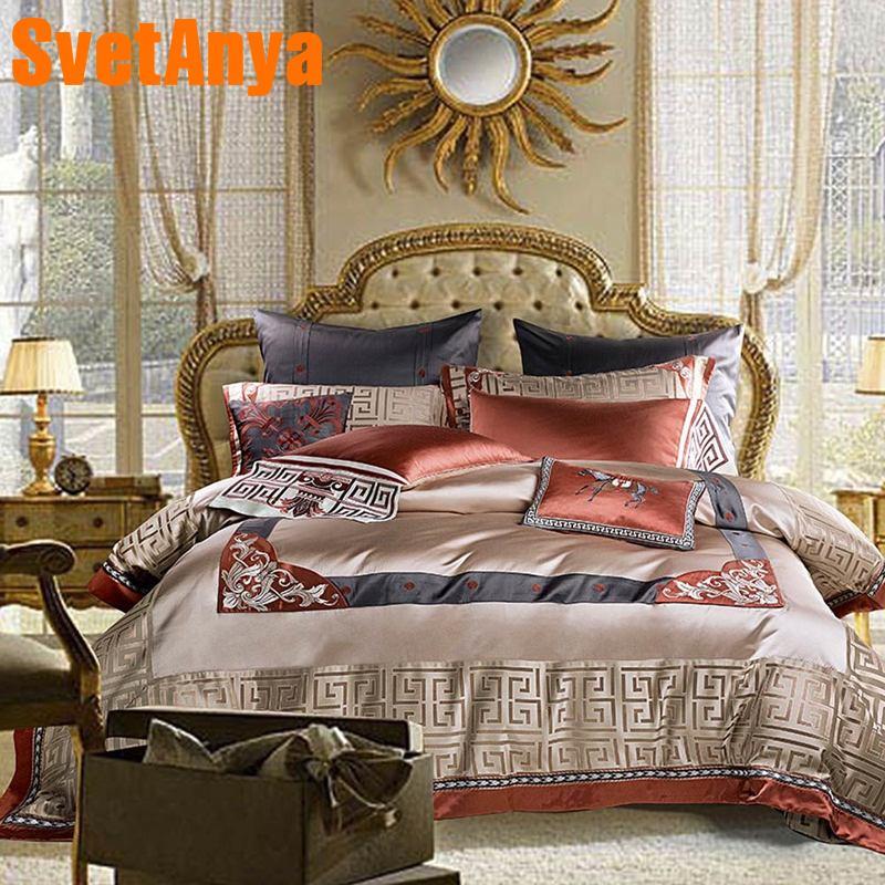 Svetanya luxury Brocade Bedding Set king queen double size Bed Linens-in Bedding Sets from Home & Garden