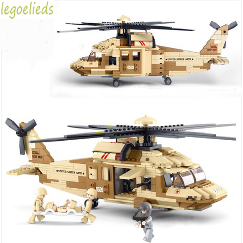 2016 New Sluban Military War Helicopter Building Blocks Toy Set City Army Airplane Bricks Toys Compatible with Military Planes