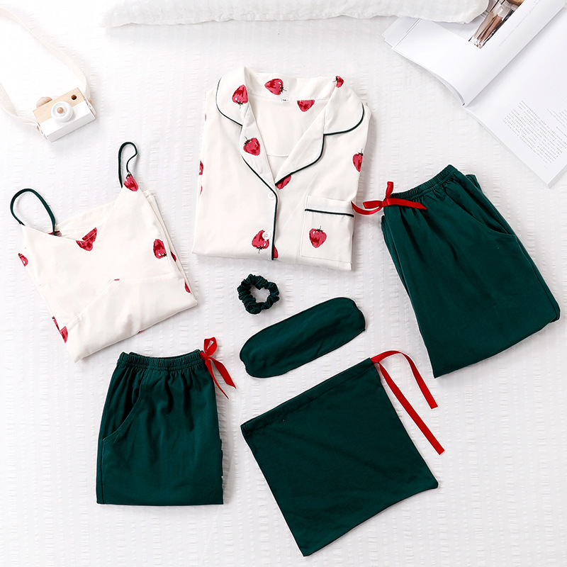 7 Piece Printed Strawberry Homewear   Set   100% Cotton Women Sleepwear   Pajama     Sets   Ladies Top Sexy Autumn Winter Green White