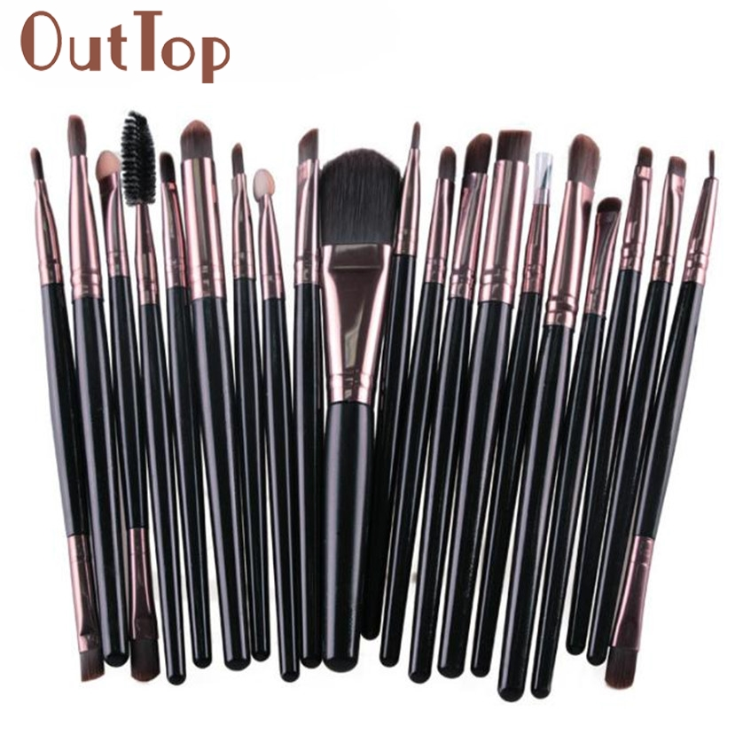 20pcs Makeup Brushes Set cosmetic tools Make-up Toiletry Kit Wool Make Up Brush Set wood handle women brush Freeshipping F5.9