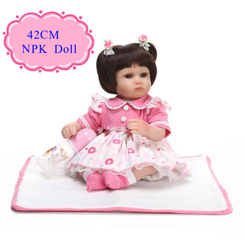 ФОТО Enducational 42cm 17inch Lifelike Baby Dolls With Flower 17inch Baby Doll Dress Best Merry Christmas  /New Year /Birthday Gift
