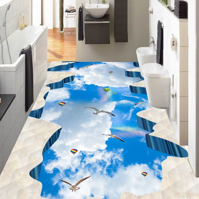 free shipping blue sky white bathroom bedroom walkway 3d