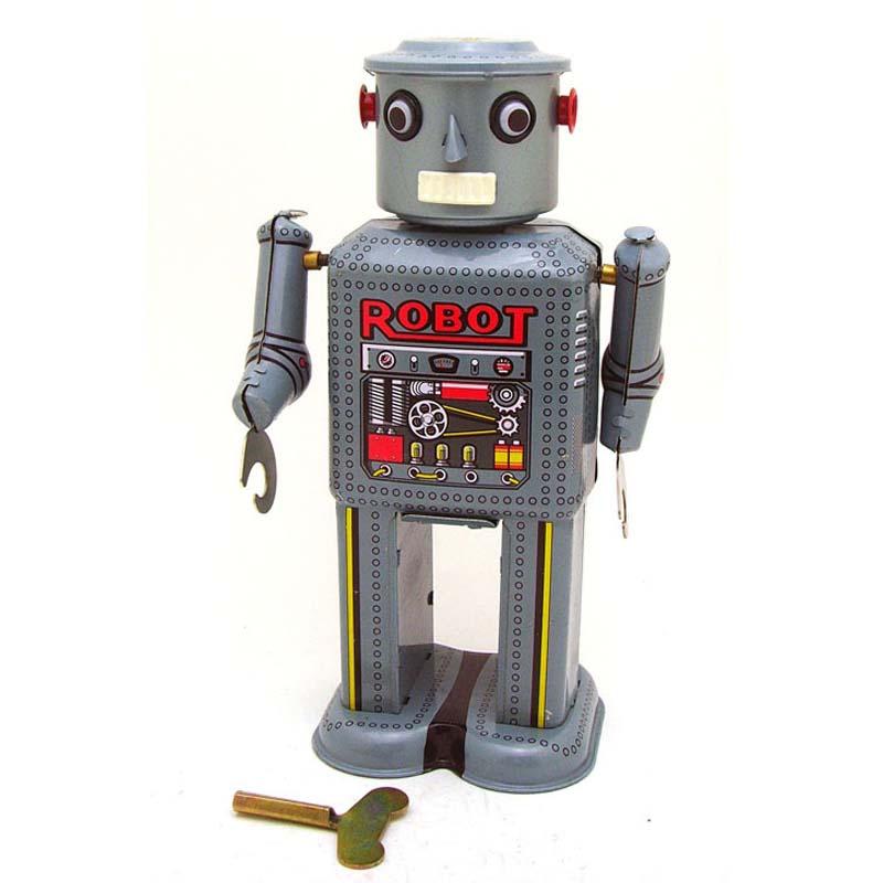 Creativa Vintage Wind Up Clockwork Tin Toy Robots Mecánicos Niño Juguetes Clásic