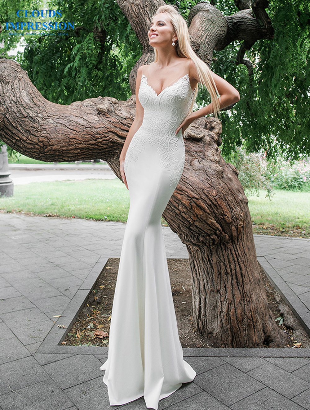 CLOUDS IMPRESSION Sexy Mermaid Wedding Dress 2019 With Detachable Train Bridal Gown Vestido de Noiva Plus