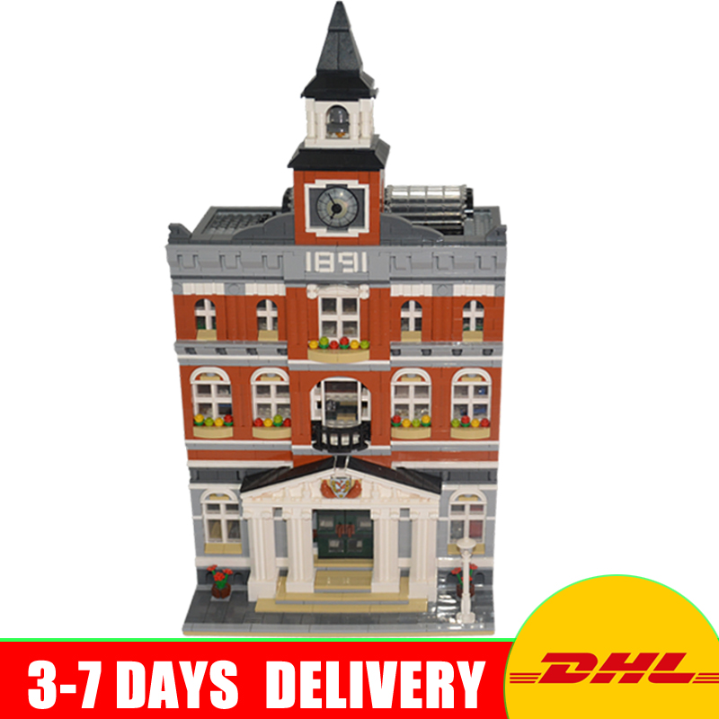 цены DHL 2859 PCS Lepin 15003 Street Town Hall Building Set City Street Blocks Model Self-Locking Bricks Toy Compatible 10224