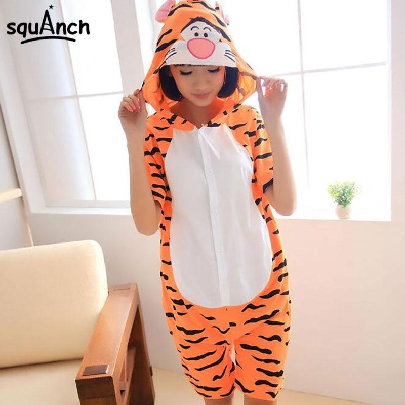 Tigger Onesie Short Sleeve Pajama Anime Cartoon Kigurumis Animal Tiger Suit Women Couple Sleepwear Summer Cotton Funny Jumpsuit