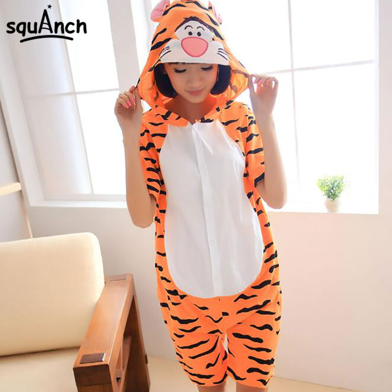Tigger Onesie Short Sleeve Pajama Anime Cartoon Kugurumi Animal Tiger Suit Women Couple Sleepwear Summer Cotton Funny Jumpsuit