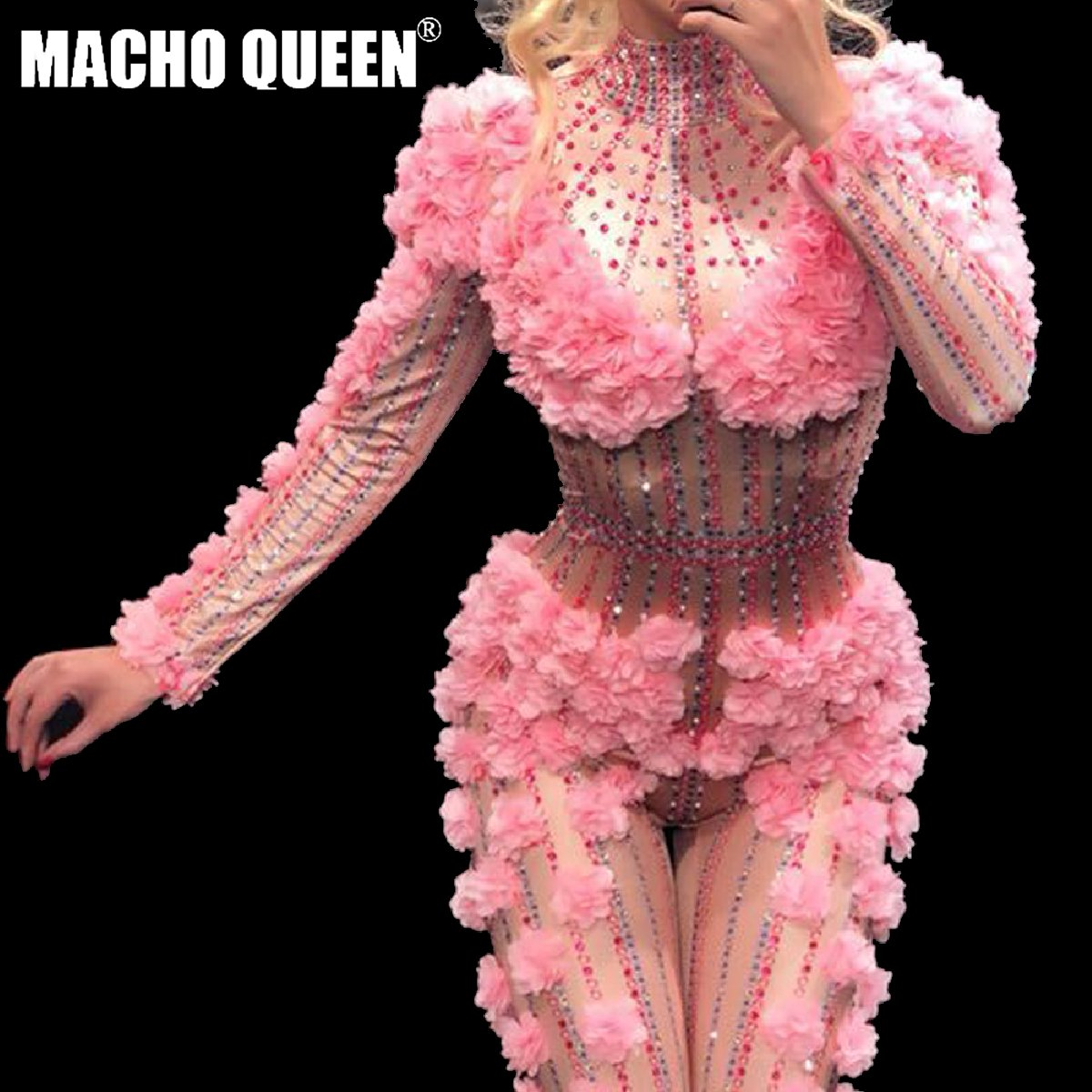 Rhinestone Bodysuit Costumes Outfits Stage-Wear Stretch Drag-Queen Singer Pink One-Piece title=