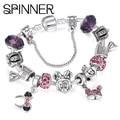 SPINNER Mickey Trojan Dangle DIY Charm Bracelet With Snake Chain Pandora Bracelet for Women Jewelry Gift
