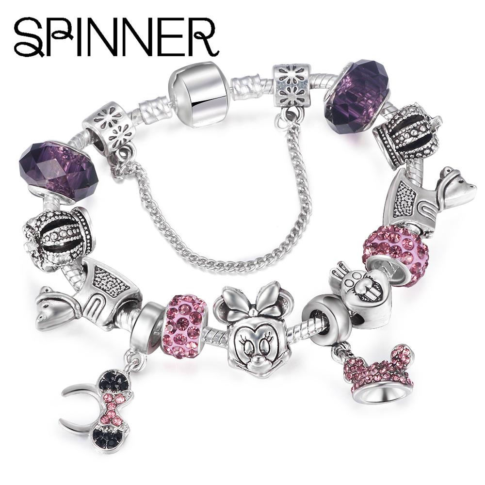 SPINNER Mickey Trojan Dangle DIY Charm Bracelet With Snake Chain Brand Bracelet for Women Jewelry Gift