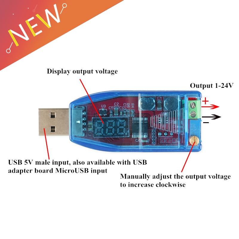 DC-DC USB Adjustable Buck-boost Power Supply Voltage Regulator Module 5V to 3.3V 9V 12V 24V DP LED Digital Display