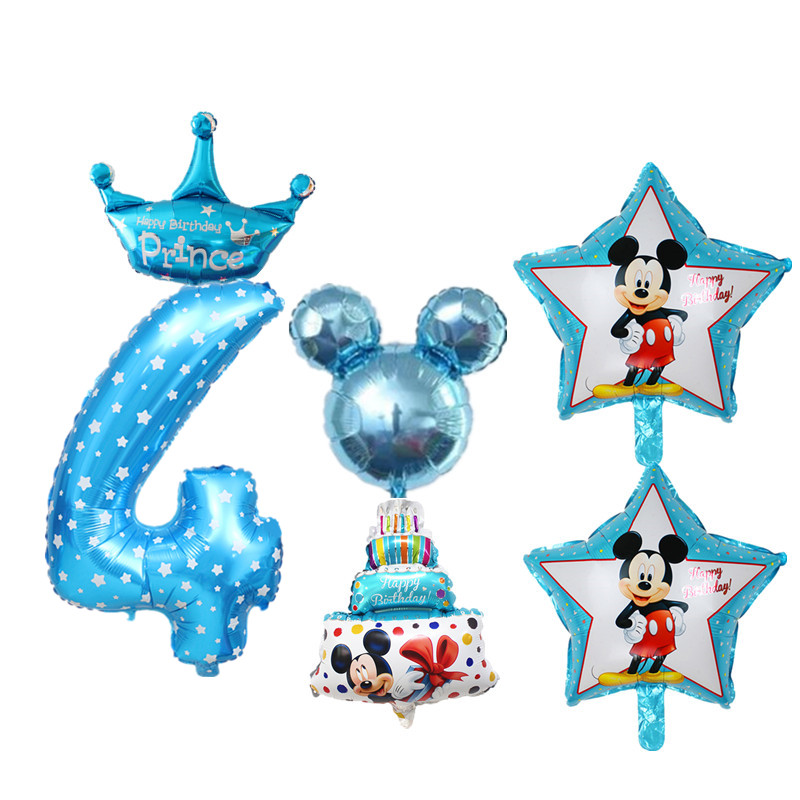 Dropwow 6pcs Set 4th Birthday Balloons Digital 4 Foil