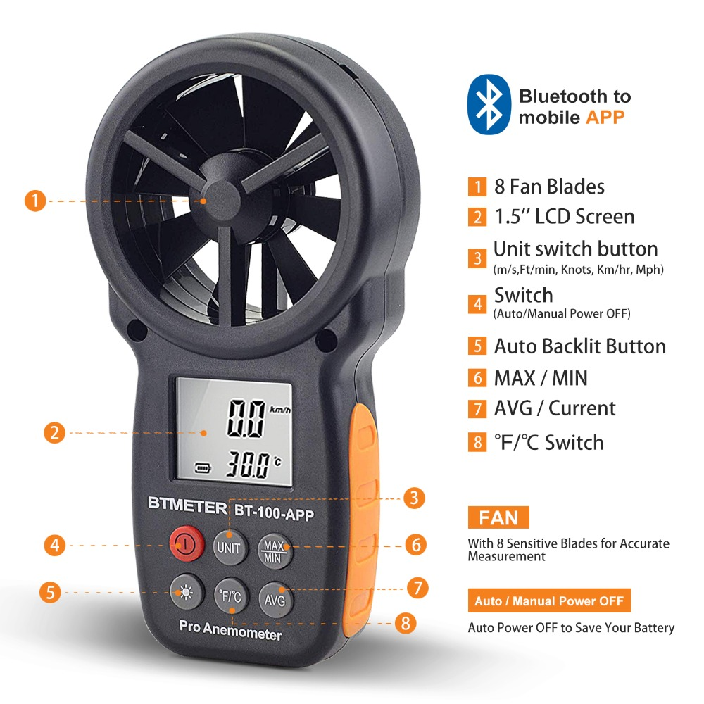Wind Speed Meter Anemometer Thermometer Temperature Air