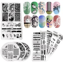 PICT YOU Nail Stamping Plates Geometric Flower Plants Natural Patterns Art Stamp Templates Square Rectangle Image
