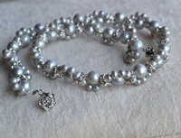 Perfect Pearl Necklace ,Charming Gray Color Crystal Beads 100% Real Freshwater Pearl Necklace, AA 4 8MM 16 inches