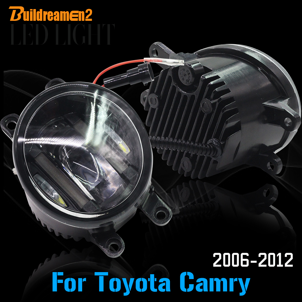 Buildreamen2 For Toyota Camry 2006-2012 Car LED Light Front Left + Right Fog Light Daytime Running Light DRL White 2 Pieces cawanerl for toyota highlander 2008 2012 car styling left right fog light led drl daytime running lamp white 12v 2 pieces