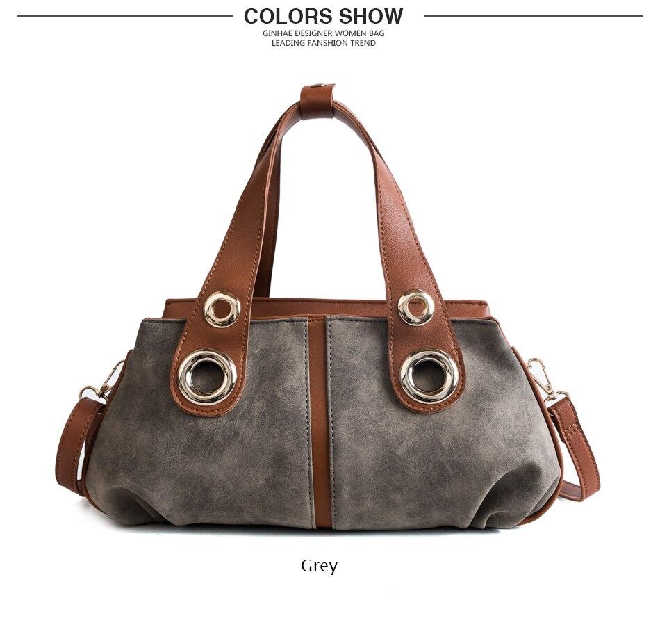 Wide Handle Women Casual Tote Bags Vintage Scrub Leather Handbags ... 578e4bf00b606