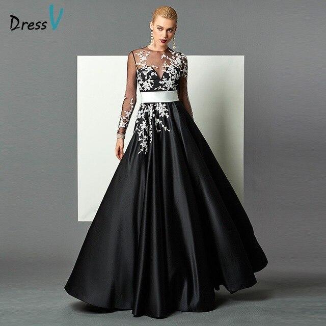 f49ec20e11f Черное платье трапециевидной формы с длинными рукавами