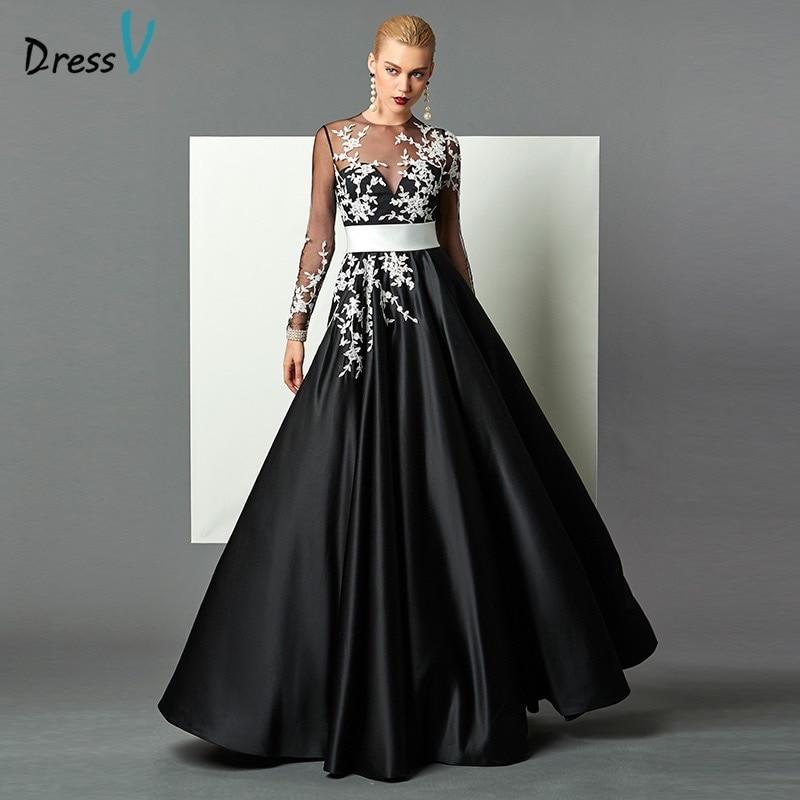 Designer Cocktail Dresses: Dressv Black A Line Long Sleeves Evening Dress White