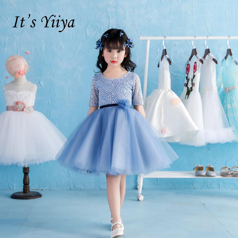 It's yiiya Lace Half Sleeves Zipper Flower Girl Dresses Flower Girls Kid Child Ball Gown Dress For Party Wedding Girl Dress S157